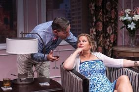 """Saving Kitty"" by Marisa Smith, at Central Square Theater in Cambridge, Mass., through Aug. 2. Pictured: Alexander Cook and Jennifer Coolidge. (Photo by A.R. Sinclair Photography)"
