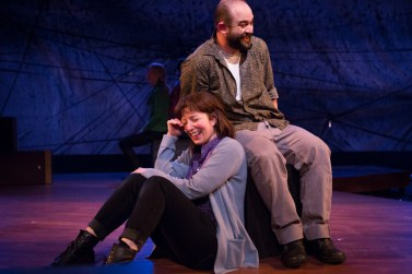 """""""Static"""" by Dan Rebellato, at Third Rail Repertory in Portland, Ore., through May 24. Pictured: Maureen Porter and Samuel Dinkowitz. (Photo by Owen Carey)"""