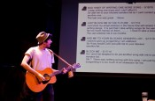 """""""Steve: a Docu-Musical"""" by Colin Summers, a New York Neo-Futurists production at 4th Street Theatre in New York City through Aug. 22. Pictured: Summers."""
