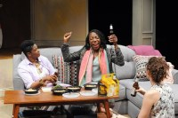 """The Call"" by Tanya Barfield, a Theatre J production at Atlas Performing Arts Center in Washington, D.C., through May 31. Pictured: Kelly Renee Armstrong, Joy Jones and Tessa Klein. (Photo by Stan Barouh)"