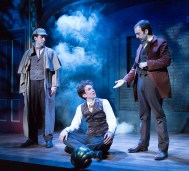 """""""The Hound of Baskervilles"""" by Steven Canny and John Nicholson, adapted from Sir Arthur Conan Doyle, at Lantern Theater Company in Philadelphia through June 28. Pictured: Damon Bonetti, Daniel Fredrick and Dave Johnson. (Photo by Mark Garvin)"""