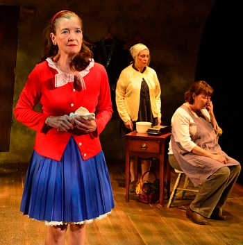 """""""The New Electric Ballroom"""" by Enda Walsh, at Gloucester Stage Company in Gloucester, Mass., through Aug. 15. Pictured: Nancy E. Carroll, Marya Lowry, and Adrianne Krstansky."""