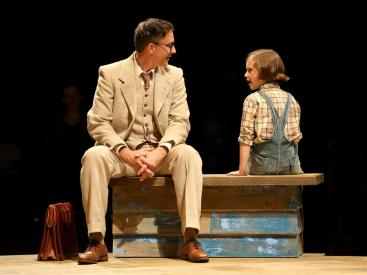 """""""To Kill a Mockingbird,"""" adapted Christopher Sergel from Harper Lee, at the Guthrie Theater in Minneapolis through Oct. 18. Pictured: Baylen Thomas and Mary Bair. (Photo by Joan Marcus)"""