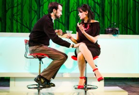 """""""Trouble Cometh"""" by Richard Dresser, at the San Francisco Playhouse in San Francisco, Calif., through June 27. Pictured: Kyle Cameron and Liz Sklar. (Photo by Jessica Palopoli)"""