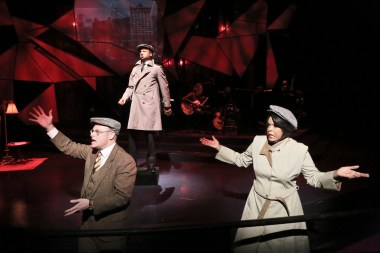 """""""Words by Ira Gershwin"""" by Joseph Vass at the Colony Theatre in Burbank, Calif., through May 24. Pictured: Jake Broder, Elijah Rock and Angela Teek. (Photo by Michael Lamont)"""