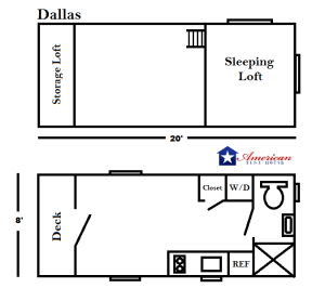 20' American Tiny House Dallas Floor Plan v2