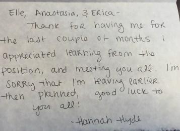 Thank you - Hannah