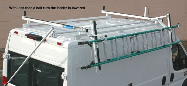ford transit side access rotation ladder rack curb side only
