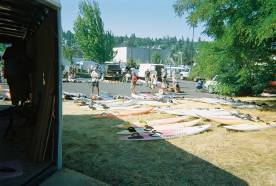Windsurfing swap meet near Hood River Waterfront Park held by the CGWA