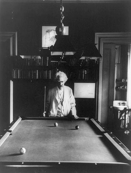 Mark Twain at a pool table