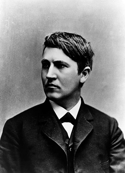 Thomas Edison in 1878, the year before he demonstrated a workable electric light bulb.  Library of Congress image