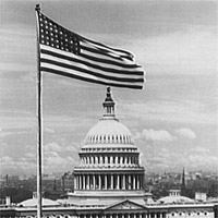 Flag flying in front of U.S. Capitol (East side) LOC photo