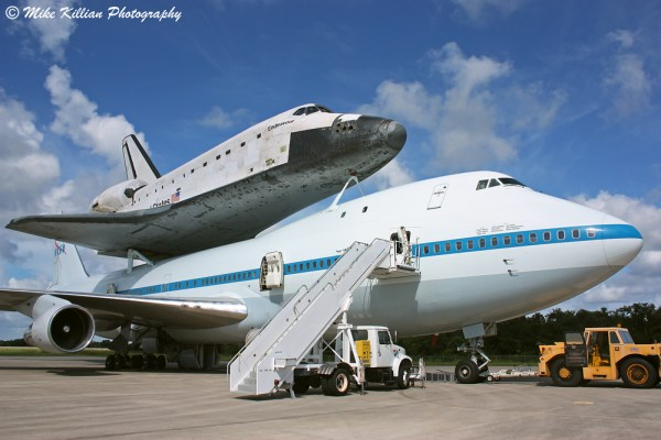 NASA's retired space shuttle Endeavour atop a modified ...