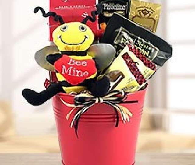 Sweets Nuts Romantic Gift Basket With Plush Bee