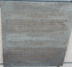 Notice sur le Caporal Joseph Keable, VC au Monument aux Valeureux,  Ottawa