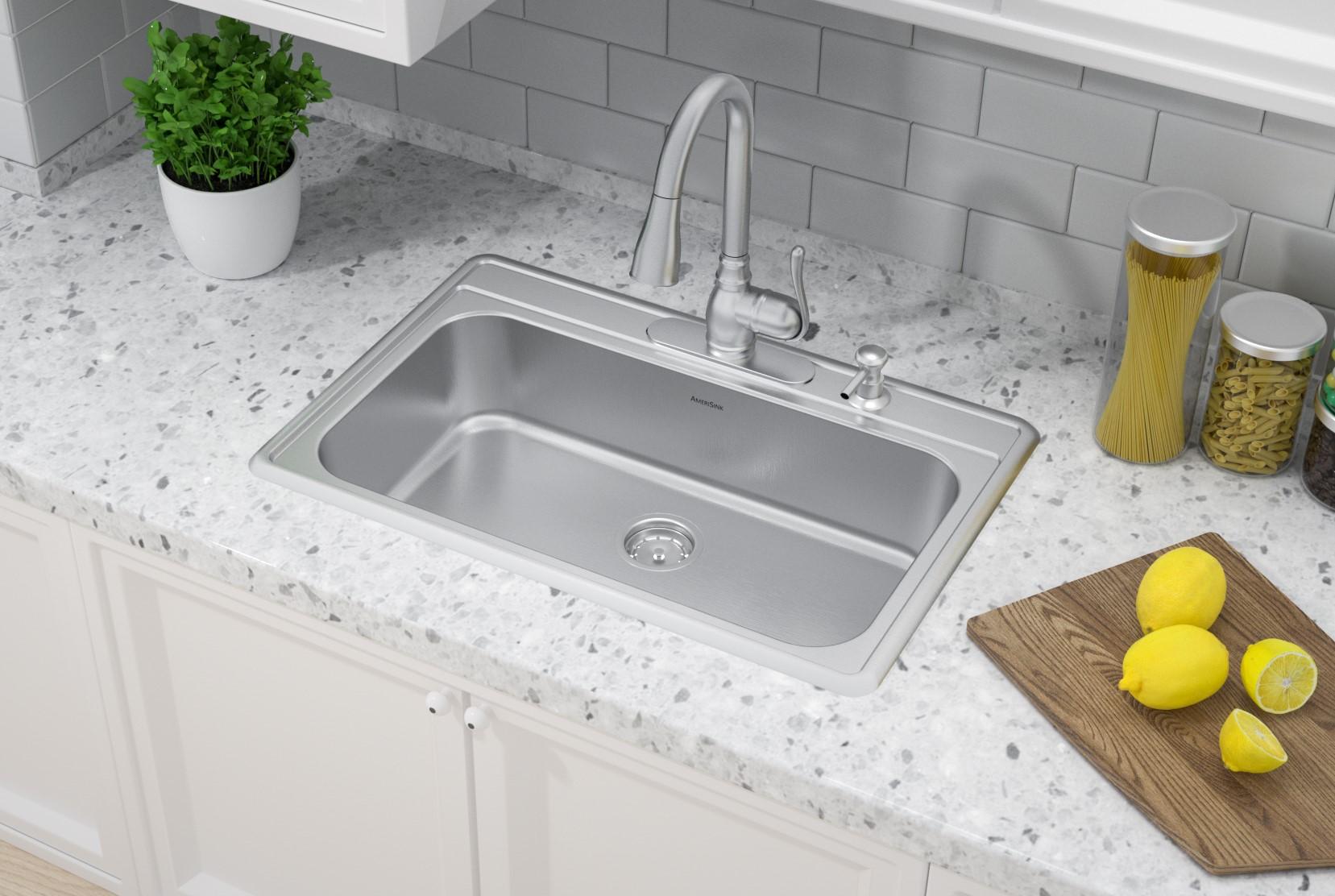 as1372 33 x 22 x 8 20g single bowl topmount economy stainless steel kitchen sink