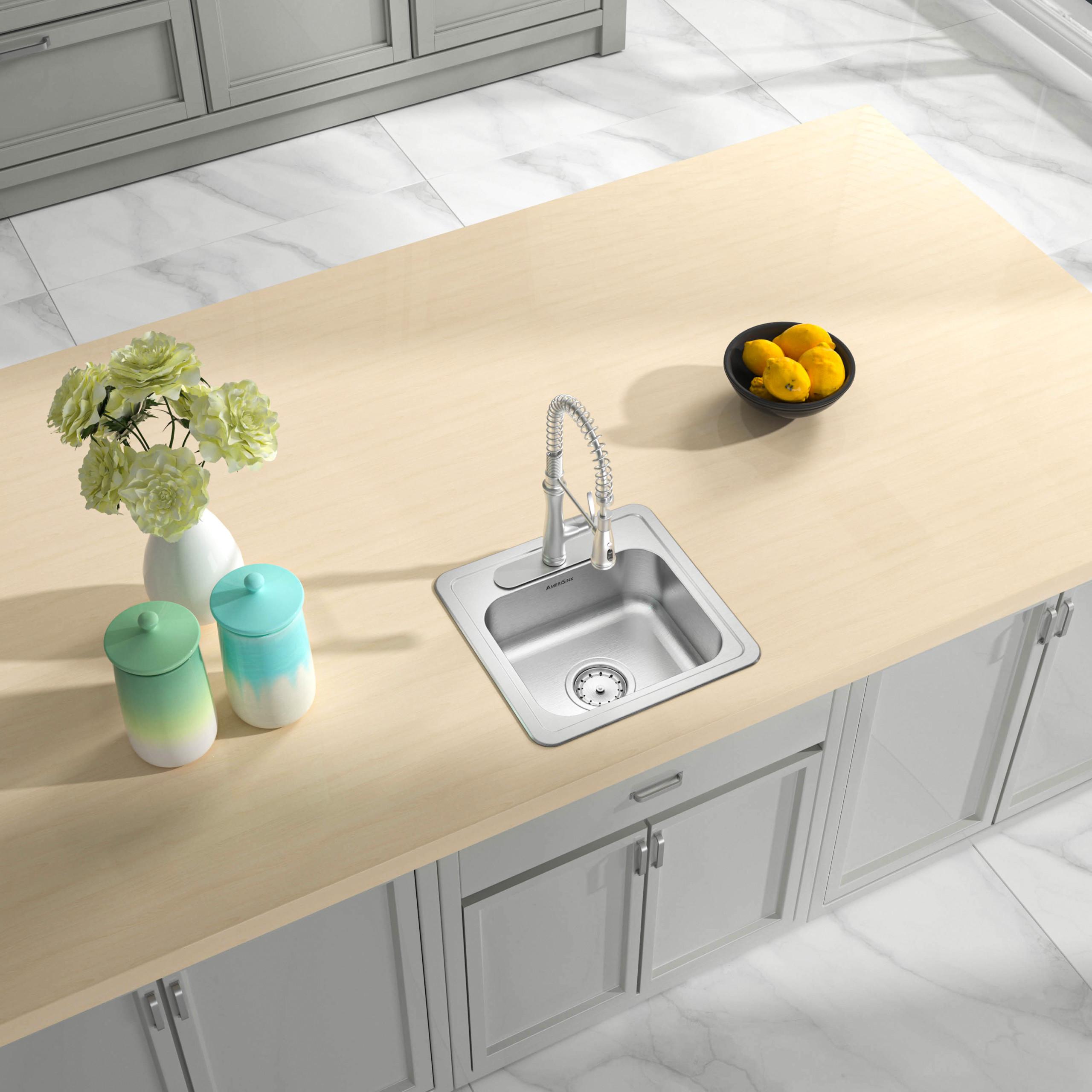 as138 15 x 15 x 5 5 22g single bowl topmount economy stainless steel bar sink