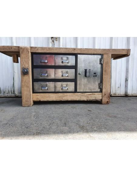 ancien etabli meuble industriel orme metal et bois