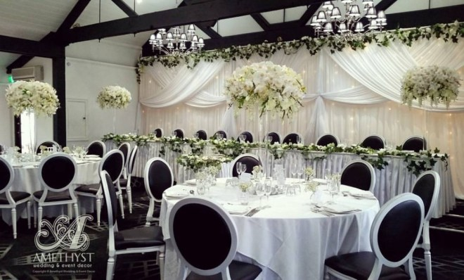 thick rose garland fairy light backdrop