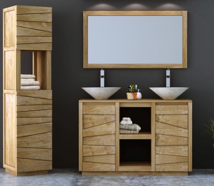 Meuble Etroit Et Design En Teck Pour 2 Vasques A Poser En Longueur 120cm