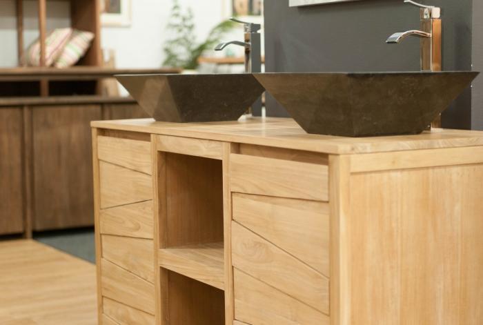 meuble de salle de bains teck 140 cm