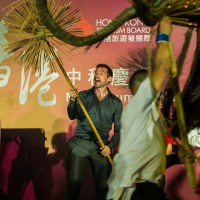 HUGH JACKMAN ATTENDS THE TAI HANG FIRE DRAGON FESTIVAL FOR HONG KONG'S  MID-AUTUMN FESTIVAL