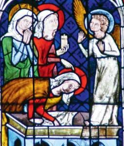 Vitraux de la chapelle Saint-Laurent représentant les saintes femmes au tombeau du Christ - Photo FM