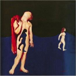 """Man Holding Woman's Dress, Wtching Her Walk Away""Robert Lenkiewicz"