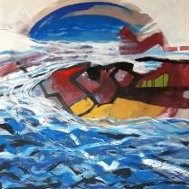 Cesare Botto - Alta marea - acrilico su tavola - cm. 90 x 90