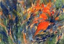Fabrizia Fantini - Giardino blue - tempera a guazzo su carta - cm. 42,5 x 27
