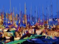 Cristina Mantisi - Alberi nel blu - digital artwork su tela - cm. 60 x 45