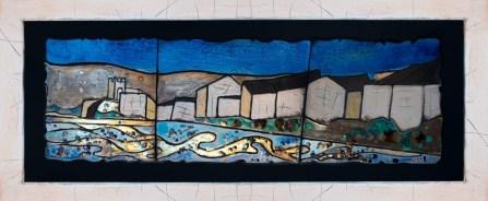 Caterina Massa - Blu nel Blu - ceramica raku - cm. 100 x 40