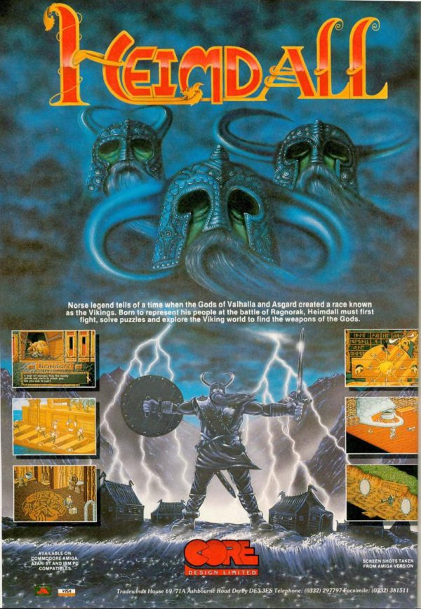 Ad for the 1990s game Heimdall published by Core Design