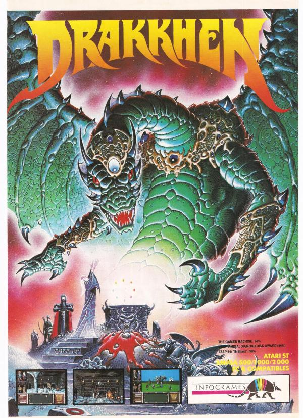 Advertising poster for Drakkhen computer game 1990
