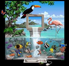 Dessin de Jim SACHS, Amiga Lagoon (couverture du logiciel Brilliance)