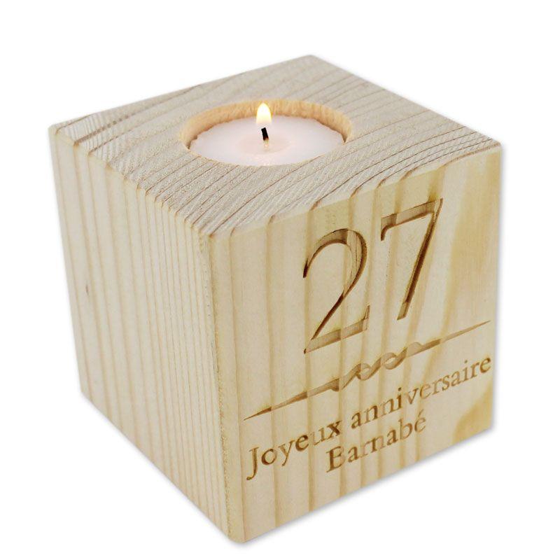 Bougeoir Cube En Bois Grav Une Ide De Cadeau Original