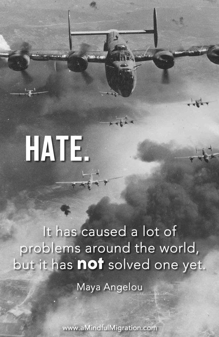 Hate. It has caused a lot of problems around the world, but it has not solved one yet. Maya Angelou