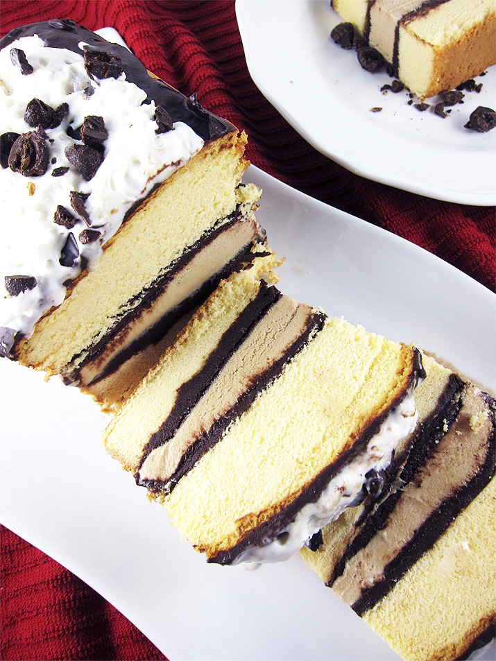 A gorgeous, make-ahead dessert that is perfect for Valentine's Day. All you need is a buttery pound cake, coffee ice cream and homemade chocolate ganache to make a luscious dessert.