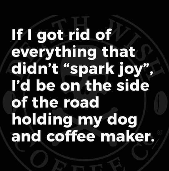 "If I got rid of everything that didn't ""spark joy"", I'd be on the side of the road holding my dog and coffee maker."