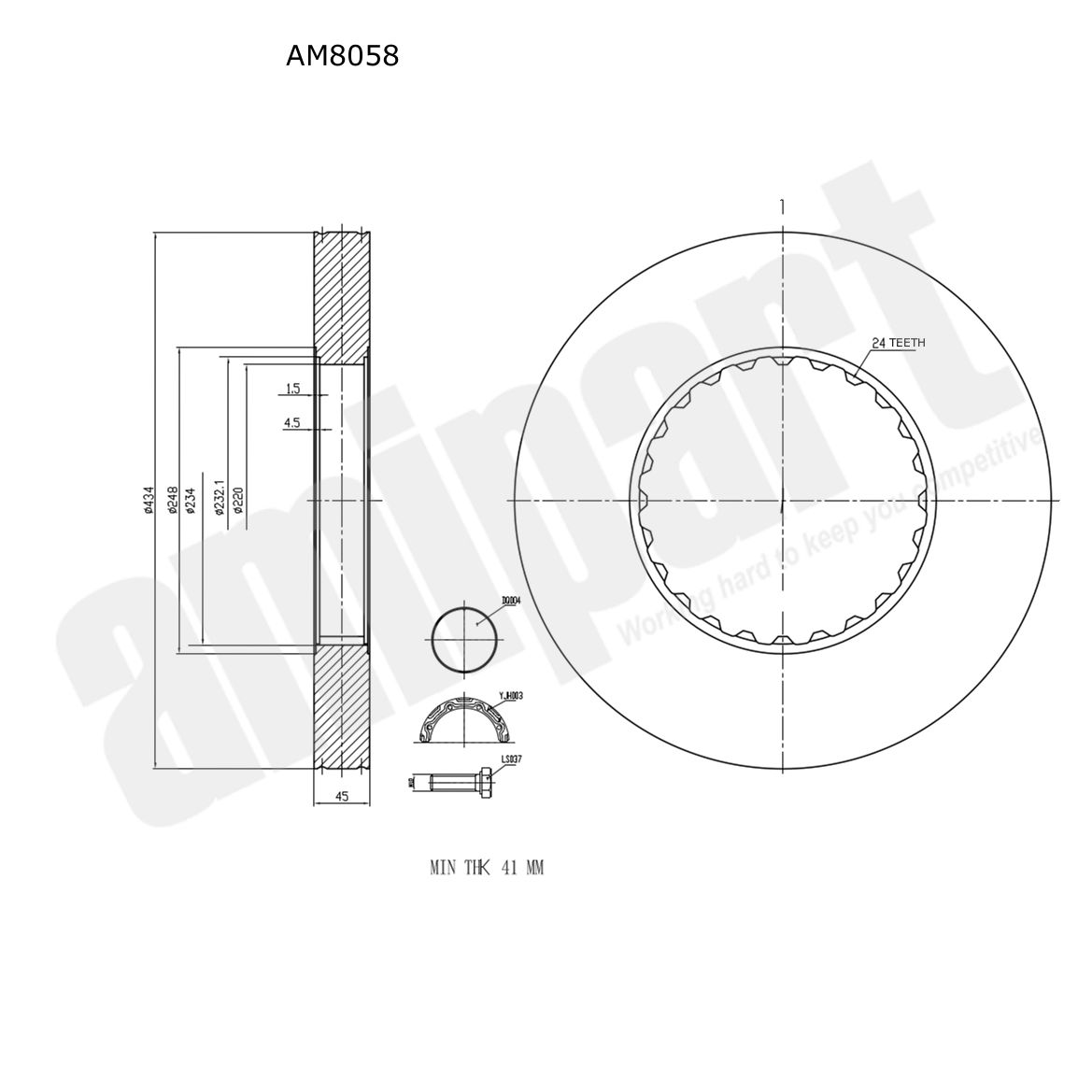 Amipart Brake Disc With Fitting Kit Am