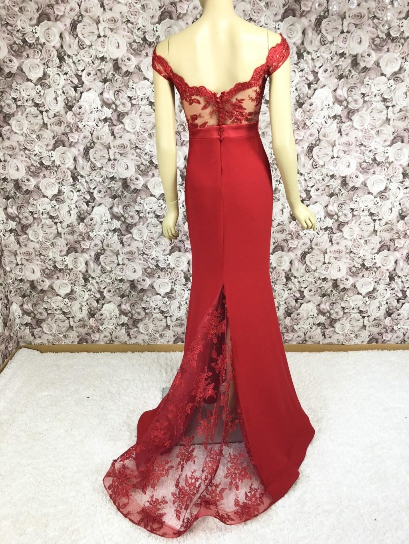 Abendkleid Rot Festliches Kleid Spitze