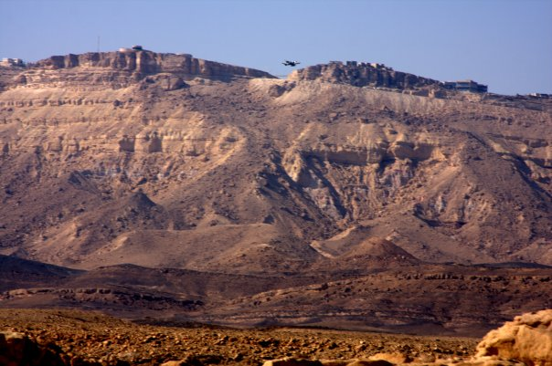 Ramon Crater; the town Mitzpe Ramon is at the top of the cliff