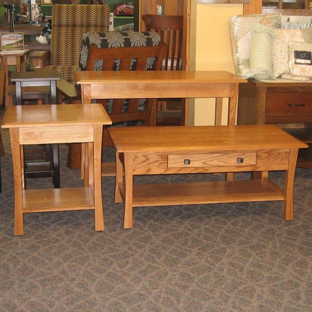 tyron living room set includes sofa end and coffee table shown in oak with an mx stain