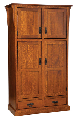 Mission 4 Door Pantry With Drawer Cabinet Amish Furniture Factory Amish Furniture Factory