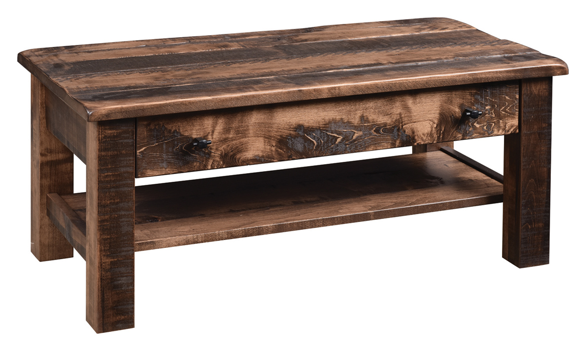 everest rustic coffee table in brown maple