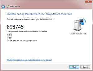 Pairing Code iPad
