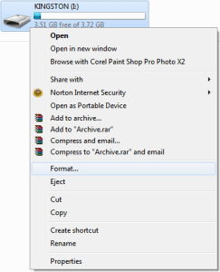 USB Drive Format Option