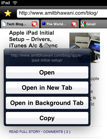 iPad Browser Contextual Settings
