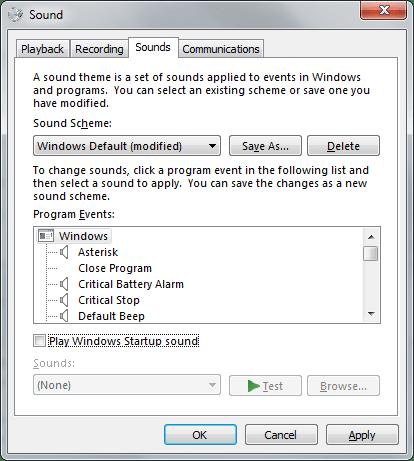 Play Windows Startup Sound