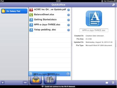 Quickoffice for ipad 1